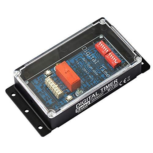 Kemo M113D Digitaler Zeitschalter 12 V/DC für Zeiten zwischen 1 und 2047 Sekunden / Minuten. Mit LED-Anzeigen. Steuern durch externe Steuerimpulse oder automatisch nach Einschalten
