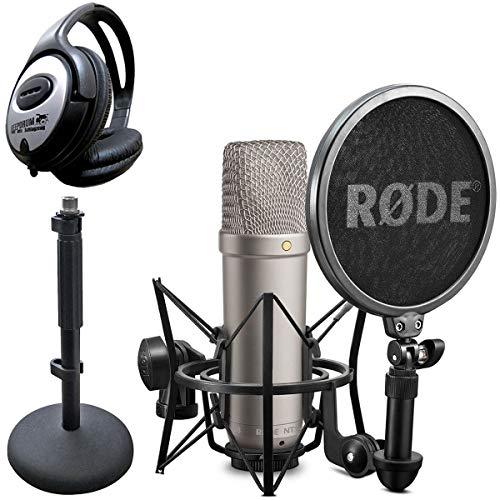 Rode NT1-A - Micrófono condensador con trípode DS1 y auriculares Keepdrum