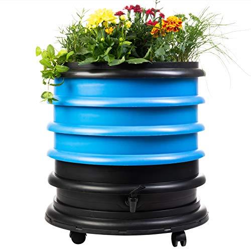 Lombricomposteur WormBox 3 plateaux Bleu et jardinière - 56 litres - Recyclez vos déchets organiques en engrais pour vos plantes 🌻