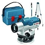 Bosch Professional Optisches Nivelliergerät GOL 26 G (26-fache Vergrößerung, Maßeinheit: 400 Gon, Arbeitsbereich: bis zu 100 m, Messlatte GR 500, Baustativ BT 160, im Transportkoffer)