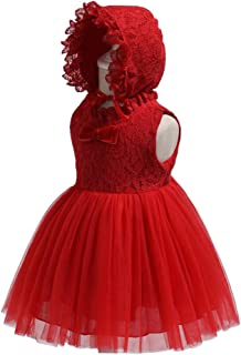 XFentech Baby Dress - Girls Birthday Christening Dress Baptism Wedding Party Flower Dress,Red,18M(13-18 Months)