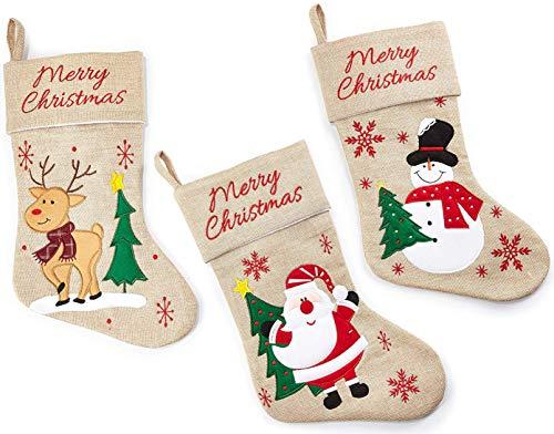 HEITMANN DECO Natale - Set di Tre Calzini Decorativi in Juta da riempire e Appendere - Stivali Babbo Natale - Deco Natale - Pupazzo di Neve, Babbo Natale, Renna