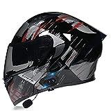 HZIH Casco da Moto Integrato Bluetooth,Modulare Flip Full Face Moto Casco,Certificazione ECE Casco Moto Apribile con Doppia Visiera Caschi Moto modulare,Speaker Integrato Microfono G,M=57~58cm
