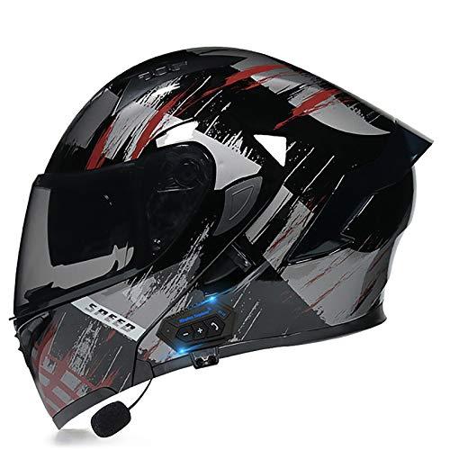 HZIH Casco da Moto Integrato Bluetooth,Modulare Flip Full Face Moto Casco,Certificazione ECE Casco Moto Apribile con Doppia Visiera Caschi Moto modulare,Speaker Integrato Microfono G,L=59~60cm