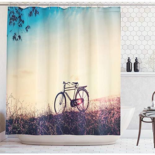 KEKESHIGEDOU Cortinas de Ducha, Filtro Retro Sunset con diseño de impresión Digital de Tema de decoración de Bicicleta de Bicicleta de montaña, Tela Opaca Incl. 12 Anillos ecológicos Lavables