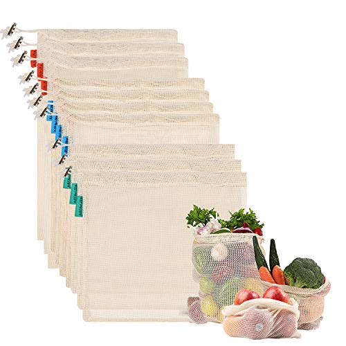 NEWSTYLE Sacs Réutilisables à Fruits et Légumes,Sac de Provisions en Coton Lot de 10 Sacs à Grille,Résistant, Lavable, Double Piqué avec étiquette de Poids de Tare, Léger (3*S, 4*M, 3*L)