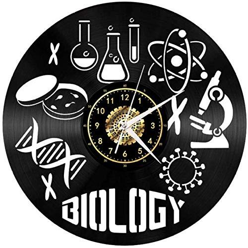 syssyj Biologie Mikroskop Schallplatte Wanduhr Led Leucht Gedenken Handgefertigte Kunst Schlafzimmer Dekor Geschenk Keine Led-licht 12 Zoll