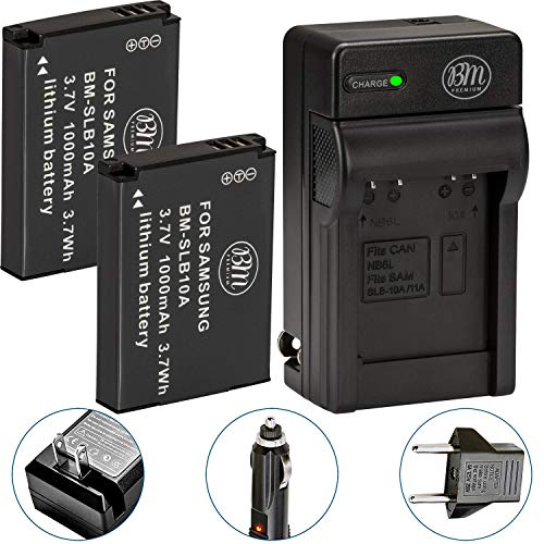 BM Premium Pack of 2 SLB-10A Batteries and Battery Charger for Samsung EX2F HZ15W SL202 SL420 SL620...