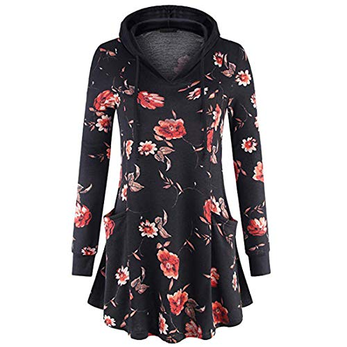 FIDOZ Women's Oversized Floral Print Vintage Boho Pleated Hooded Hoodies Sweatshirt Pullover Jumper with Side Pockets Womens Casual Long Sleeve Elegant Basic Party Tunic Tops Blouse T-shirt Tees