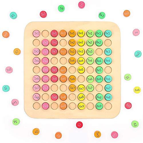 Rompecabezas Matemático de Madera,Doble Cara de Madera 9*9 Fórmulas de Multiplicación Mesa Juguete de Rompecabezas para Niños,para Niños Pequeños Juguetes Educativos