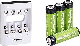 Amazon Basics - Caricabatterie USB rapido, bianco & Batterie AA ricaricabili, pre-caricate, confezione da 4 (l'aspetto pot...