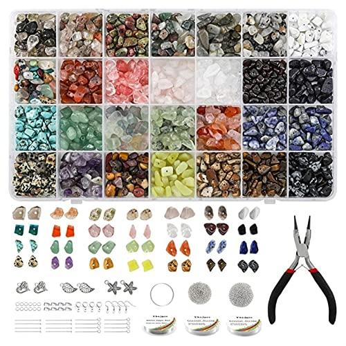 Joyas Haciendo Kits de Cuentas Cristales Irregulares Perlas para joyería Kits, Chips Naturales Cristales Kit de Piedras Preciosas con Cuentas de Semillas, espaciadores para Anillos Pendiente Collar y