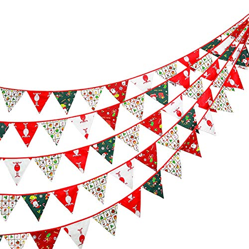 Christmas Decorations Kit–Fabric Bunting Banner/Xmas Pennant Flag/Traingle Hanging Garland Banner Decor for Fireplace,Wonderland Winter,New Year,Holiday Party,Indoor Decoration (2 Set). …