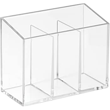 InterDesign 38740 Clarity Cosmetic Organizer for Vanity Cabinet to Hold Makeup, Beauty Products, Divided, Clear