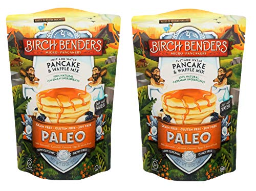 Paleo Pancake and Waffle Mix by Birch Benders, Made with Cassava, Coconut, Almond Flour, 12 Ounce (Pack of 2)
