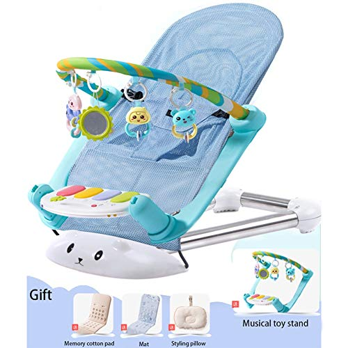 Baby Rocking Chair, Newborn Cradle, Baby Comfort Chair, Baby Recliner, Foldable And Easy To Carry,Blue