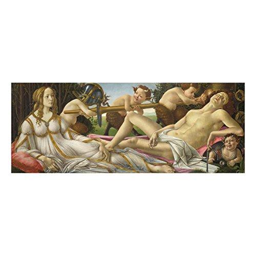 Bilderwelten Glasbild Wandbild Sandro Botticelli - Venus und Mars 30 cm x 80 cm
