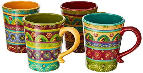 Certified International Tunisian Sunset Mugs (Set of 4), 18 oz, Multicolor,22452SET/4