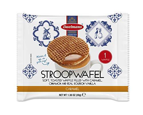 DAELMANS Stroopwafels, Dutch Waffles Soft Toasted, 24 Pack Caramel, Kosher Dairy, Authentic Made In Holland, 24 Stroopwafels Per Box, 1oz per serving