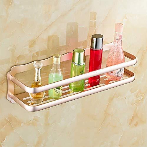 MQW Estante de ducha de pared para baño, soporte de pared de aluminio, autoadhesivo, sin daños, (plata, negro mate, oro rosa), negro mate (color: oro rosa)