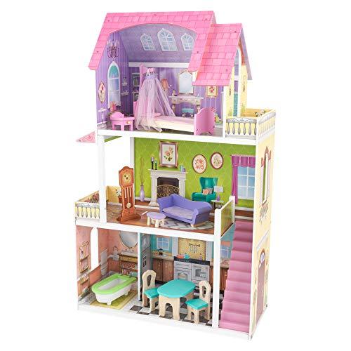 KidKraft 65850 Casa delle Bambole in Legno Florence per Bambole di 30 Cm con 11 Accessori Inclusi e 3 Livelli di Gioco