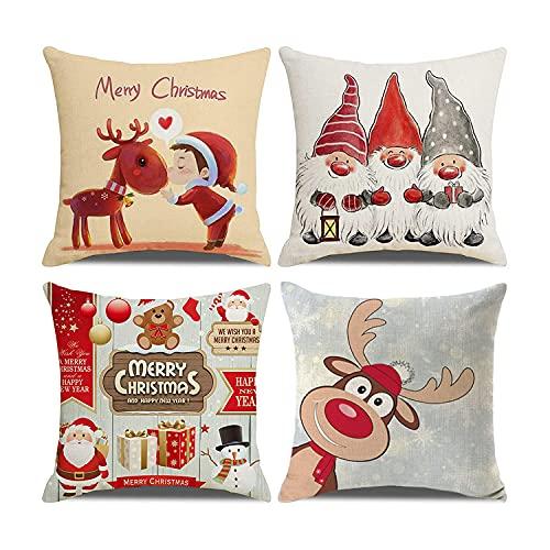 Funda de Almohada de Navidad, Santa Claus Elk Algodón Lino Fundas Navideñas para Cojines con Estampado de Lino de Algodón Decorativo, para Decoración del Hogar de Navidad