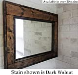 Herringbone Reclaimed Wood Framed Mirror, Available in 4 Sizes and 20 Stain colors: Shown in Dark Walnut - Large Wall Mirror - Rustic Modern Home - Home Decor - Mirror - Housewares - Woodwork - Frame
