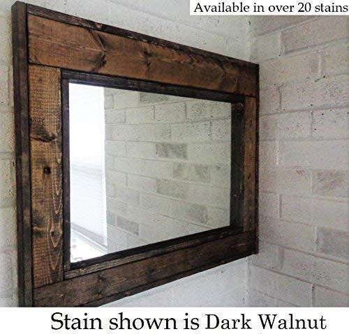 Amazon Com Herringbone Reclaimed Wood Framed Mirror Available In 4 Sizes And 20 Stain Colors Shown In Dark Walnut Large Wall Mirror Rustic Modern Home Home Decor Mirror Housewares Woodwork Frame Handmade