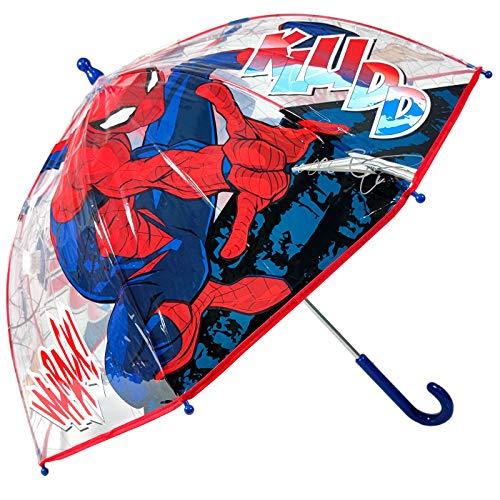 Paraguas Spiderman Marvel Paraguas Transparente Cúpula Infantil Paraguas Fibra de Vidrio Resistente Antiviento Paraguas Niña Niño 64cm
