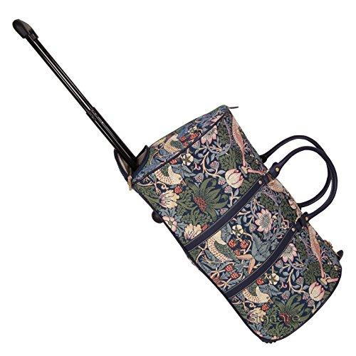 Signare Signare Tapisserie Reisetasche mit Rollen, Trolley-Reisetasche, Sporttasche mit Rollen, Rollenreisetasche mit William Morris Designs (Erdbeerdieb Blau)