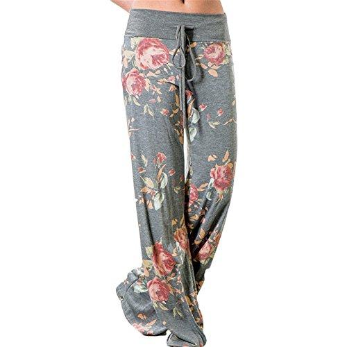 Juleya Frauen-Yoga-Hose - Plus Size Casual Blumenmuster Drawstring Wide Beinhose Hellgrau/XXXL