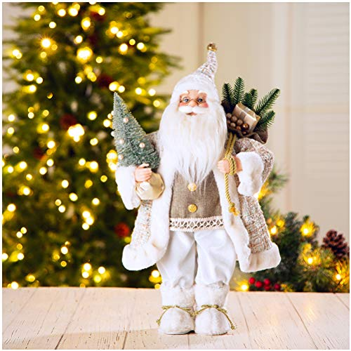 """Glitzhome 18"""" Christmas Santa Claus Figurines Christmas Figure Decoration Holiday Party Ornaments"""