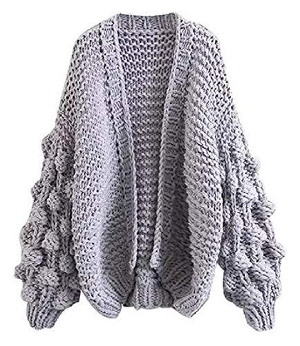 BingSai Women's Fall & Winter Knit Open Front Pom Pom Sleeve Cardigan Sweaters Coat Lightgrey One Size