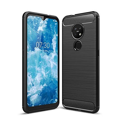 Preisvergleich Produktbild Cruzerlite Nokia 7.2 hülle,  Nokia 6.2 hülle,  Carbon Fiber Texture Design Back Cover Anti-Scratch Shock Absorption Case Schutzhülle für Nokia 7.2 / Nokia 6.2 (Black)