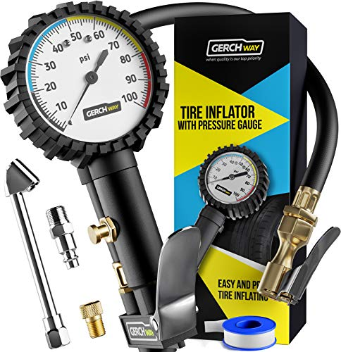 Tire Inflator with Pressure Gauge and Longer Hose - Most Accurate, Heavy Duty Air Chuck with Gauge...