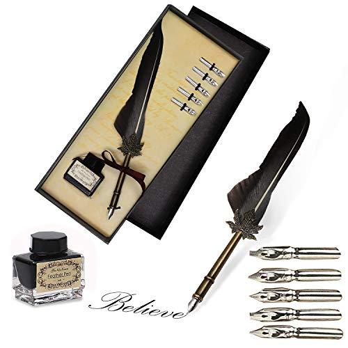 Schreibfeder - Kalligraphie Feder Dip Quill Pen schreiben Tinte Set - Antike Feder (einschließlich Pen Nib) Set mit Messing Halter, 5 Ersatzspitze , Schwarz Tinte und Geschenkbox