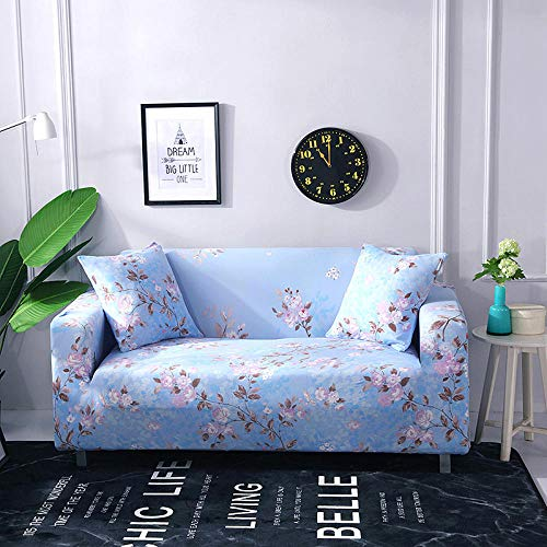 Funda Sofá 190-230 cm con Funda de Cojín de 3 Piezas 45x45 cm (Pack de 4), Poliéster Stretch Cubre Sofá Funda Protector Antideslizante Sofa Couch Cover (Flor Azul/3 Asientos)
