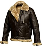 PriceRight Hombres Brown Aviator Shearling RAF | Real Bomber Faux Shearling Chaquetas de cuero | Chaqueta de cuero | Collar de piel Chaqueta de piel de oveja real, Chaqueta bomber B3, XS