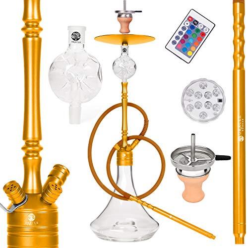 ORACLE HOOKAH® Shisha Set Wasserpfeife Aluminium Shisha Gold Komplettset 90cm mit Zubehör wie LED Schlauch Kopf Alu Mundstück Molassefänger