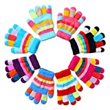 Herefun 8 Paare Kinder Handschuhe winter, Handschuhe Strick kinder Bunte Cute, Winter Warme Strickhandschuhe Vollfinger Stretch Handschuhe, Unisex-Strickhandschuh für Kleinkinder Jungen Mädchen