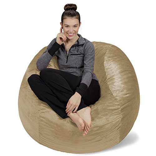 Sofa Sack - Plush, Ultra Soft Bean Bag Chair - Memory Foam Bean Bag Chair with Microsuede Cover - Stuffed Foam Filled Furniture and Accessories for Dorm Room - Camel 4'