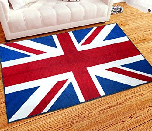 VIOY Tapis Salon Chambre Couverture de Chevet Classique Anglais Drapeau Plancher Tapis Table Basse Porte Mat Pied Pad,Section A,Taille Unique