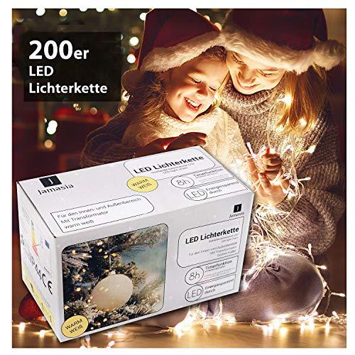Jamasia 999103 - LED Lichterkette mit 200 LED Lämpchen, warm weiß, mit Trafo und 8 Stunden Timerfunktion, für Innen und Außen, grünes Kabel Länge 27,90 m, Zuführung 8 m, LED Abstand 10 cm, GS geprüft