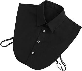 KLOP256 Mujeres falso collar de citas negocios multifunción algodón poliéster lavable diario casa media camisas suave cómo...
