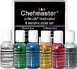 Chefmaster - Metallic Airbrush Kit - Airbrush Food Coloring - 6 Pack - Vibrant, Highly Pig...