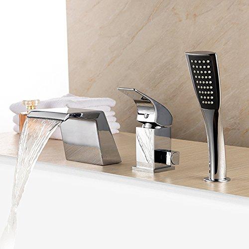BFTAPS Wasserfall Badewanne Wasserhahn Chrom Armatur 3-Loch Wannenrandarmatur mit Handbrause Badewannenarmatur für Bad Badezimmer,ChromeFaucet