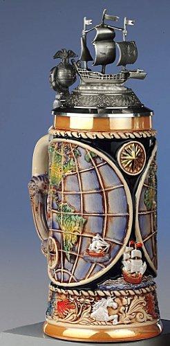 Jarra de cerveza según Relief - mapamundi - Barco - ship - cerveza, Beer Mug - cerámica, pintado a mano con tapa de estaño