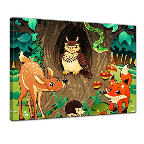 Wandbild Kinderbild Waldtiere III Cartoon - Waldgeschichten bei Frau Eule - 40 x 30 cm Bilder als Leinwanddruck Fotoleinwand Kinder Natur Tiere des Waldes