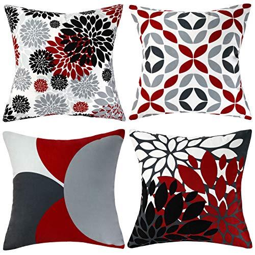 Fundas de cojín Gris Cojín Rojo Terciopelo Blanco y Negro Cojines Decorativos 45x45cm Paquete de 4 Fundas de Almohada cuadradas para sofá al Aire Libre Sala de Estar Dormitorio 18x18 Pulgadas