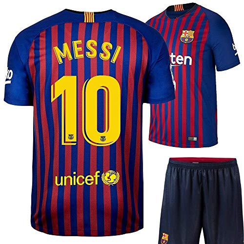 JS -Barcelona Messi Printed Set with Shorts 2018-2019Kids & Mens(13-14YEARS)